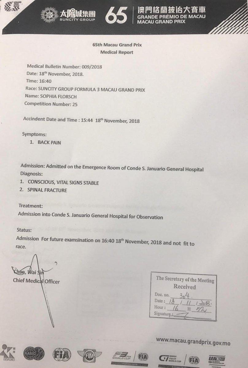 GP Macao: Floersch ringrazia su Twitter, è stabile ma con frattura spinale. Giallo sull'incidente