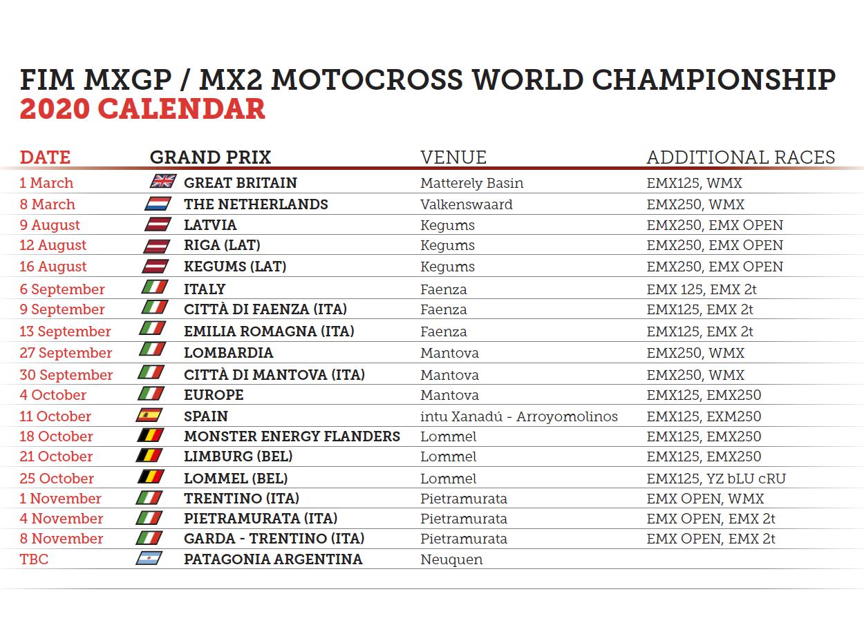 MXGP   Nuova revisione del calendario: nove appuntamenti in Italia